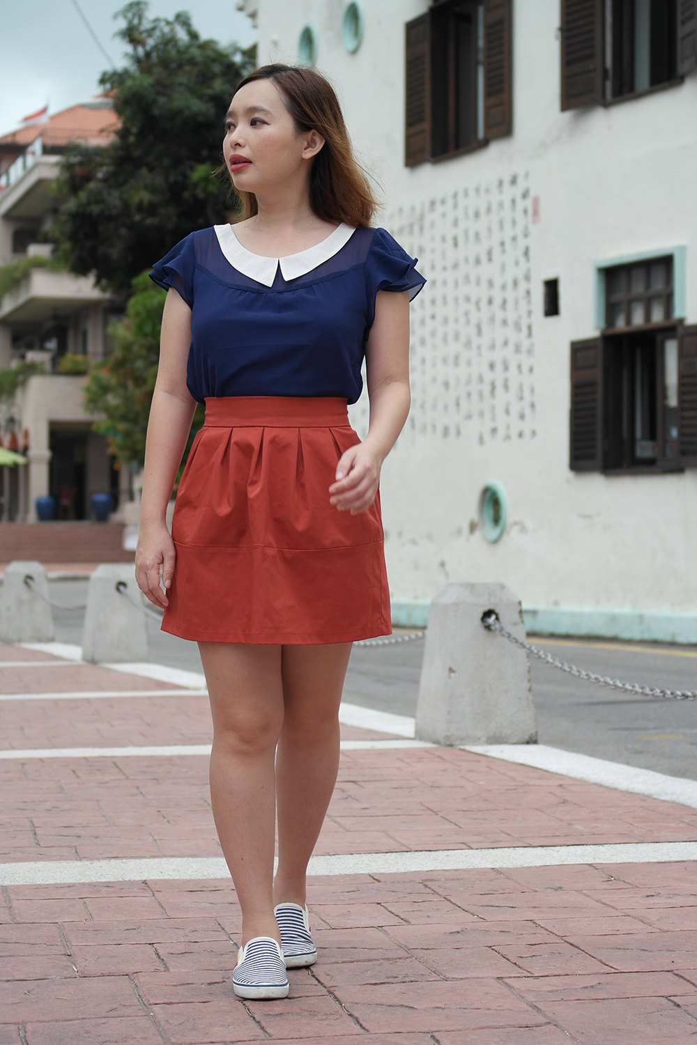 1ff81f674dc70 Blue Ruffle Sleeves Top And Brick Red Skirt – Photo Diary Malacca ...