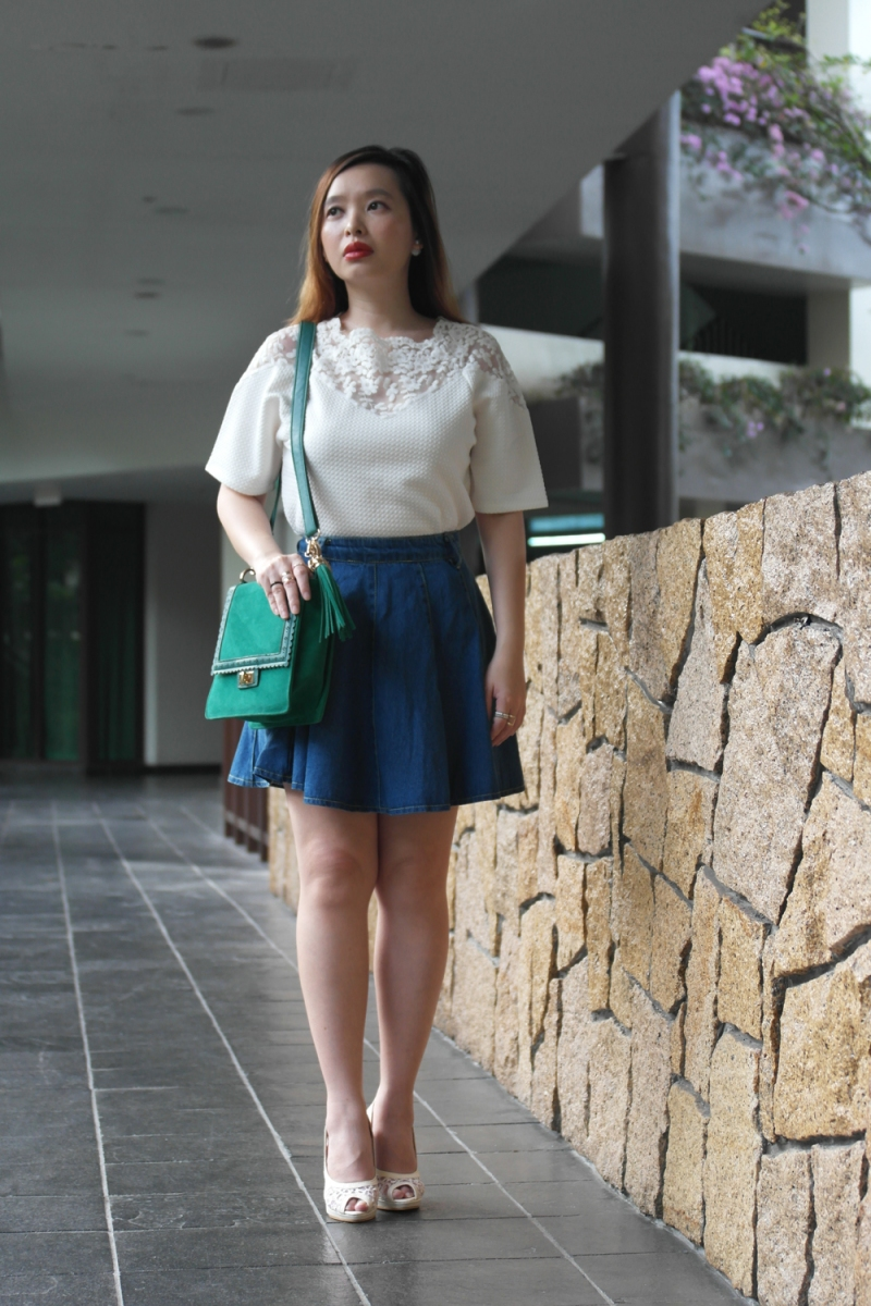 A Lace Inset Top With Denim Flare Skirt